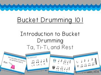 Introduce your kiddies to the world of bucket drumming with this introduction kit!  This file includes 152 pages of rhythms and activities to get your students moving!  This introductory file uses quarter notes, quarter rests, and paired eighth notes to create simple 4 beat rhythmic patterns.Three files are included with this kit:*** Bucket Drumming 101 File ***Includes 8 basic rhythms using quarter notes, quarter rests, and paired eighth notes.