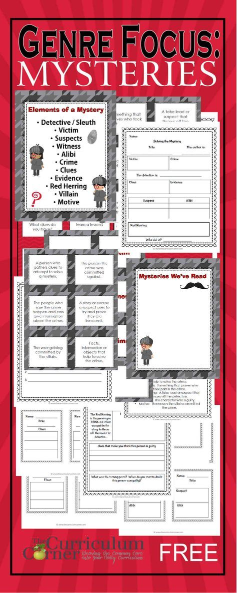 Genre Focus: Mystery | Reading Workshop Unit of Study free from The Curriculum Corner | graphic organizers, exit tickets, anchor charts & more | Reading mysteries
