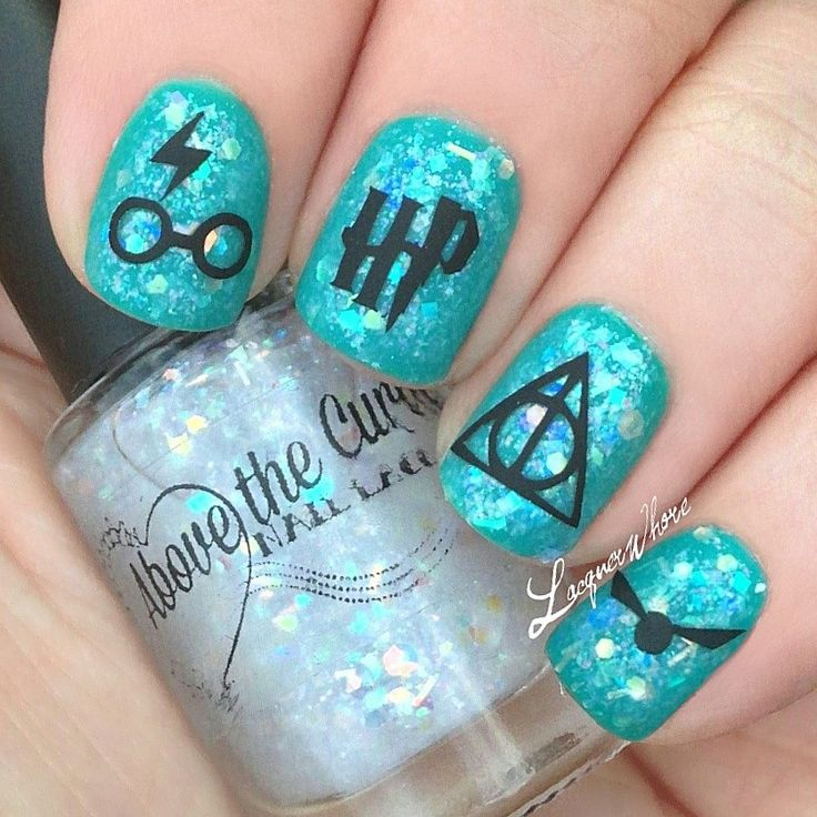 Harry Potter manicure with turquoise + glitter polish, nail decals and matte top coat