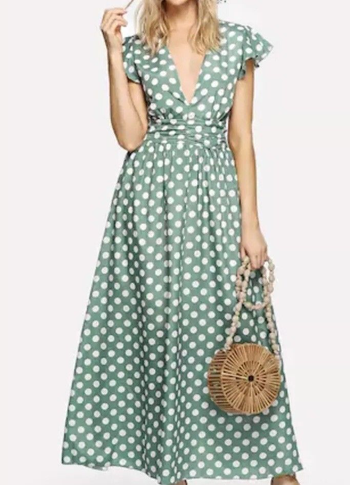 f8d83fd91473f Womens Size 12 Green Dress Dress has White Polka Pattern Dots Dress Full  Length Maxi style Cap sleeve Deep V neck Detailed Waist Very flattering  Full length ...