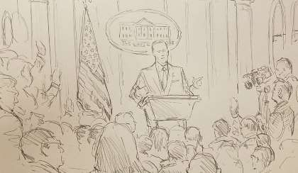 CNN brings courtroom sketch artist to White House press briefing  -  June 23, 2017