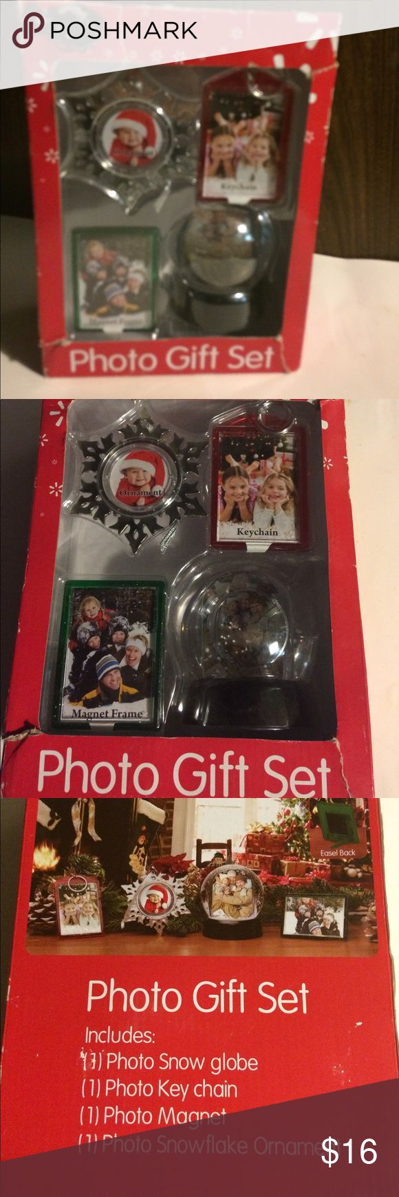 Christmas photo gift set picture frames Gift set of 4 photo snow globe, key chain, photo magnet, snowflake ornament. Other