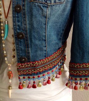 boho embroidery Mini irridescent/multi-colored tassels embellished BoHo - Make a bold fashion statement with this one of a kind, embellished upcycled, Bohemian style Denim jacket.  Each and every one of my jackets are special and unique, just like you!  This is a timeless/seasonless jacket with multicolored iridescent mini tassels.  It's a truly a treasure to enjoy for many many years!  Measurement are: Size: Small Bust: 35