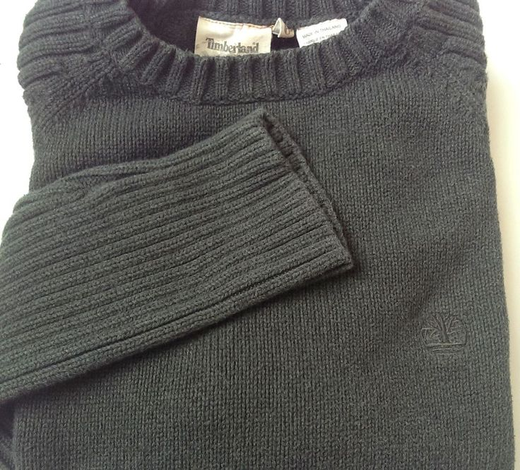 Timberland Men's Crewneck Sweater Size XL Extra Large Dark Green Long Sleeve #Timberland #Crewneck