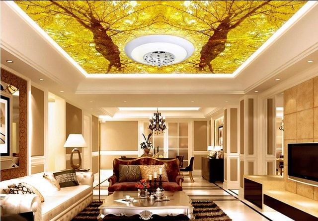 Fancy Autumn Living Room Interior Ecorating Ideas With 3d Ceiling Wallpaper Autumn F Living Room Design Styles Interior Decorating Living Room Yellow Wallpaper