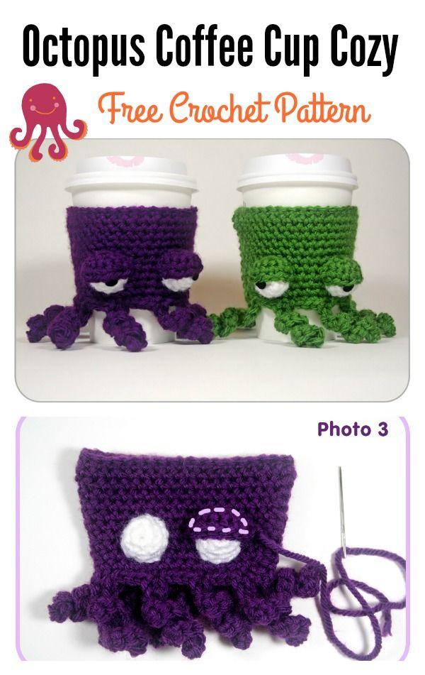 Octopus Coffee Cup Cozy Free Crochet Pattern