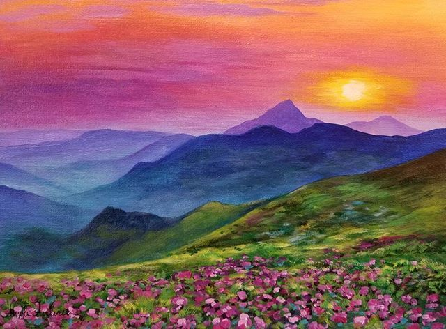 free mountain sunset acrylic painting tutorial by angela anderson