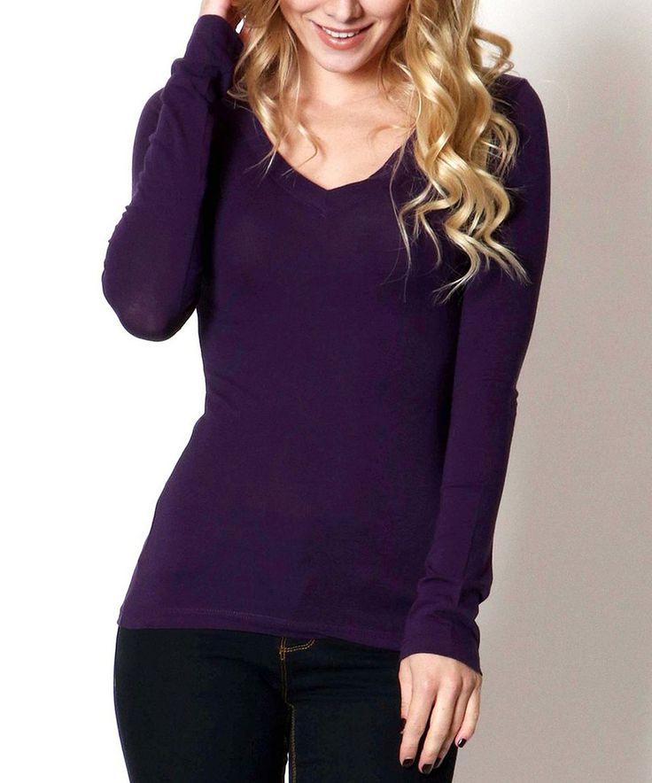 Look what I found on #zulily! Dark Purple V-Neck Long-Sleeve Top by Zenana #zulilyfinds