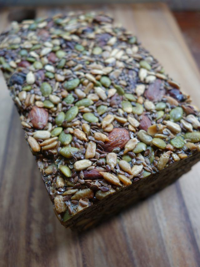 "Nordic ""Stone Age"" Bread -- a grain-free, Paleo bread made from nuts and seeds. Yum! My gluten-free hubby will love this."