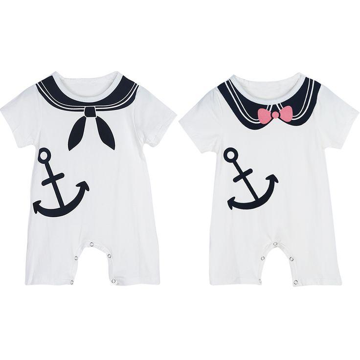 Fashion Infant Baby Rompers Gentle Cotton Newborn Baby Boy Clothes Short Sleeve Anchor Print Boy Girls Jumpsuit Romper