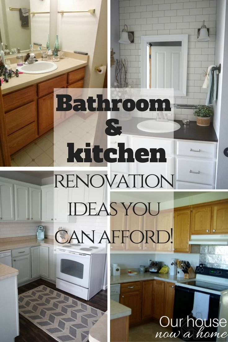 Bathroom and kitchen renovations you can afford - Back splash, lighting, hardware and more. So many ideas to create that custom look! Simple DIY ideas to enjoy your home or get your home ready to sell!