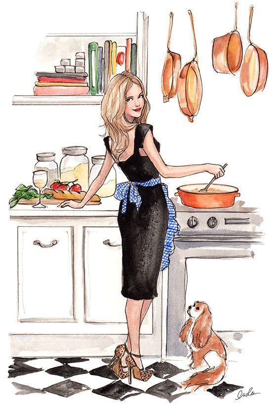 "Illustration by Inslee Haynes. - I'm a perfect housewife when I am in the kitchen. - Board ""Art-In the Kitchen"". -"