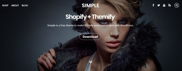 Simple is a free theme to make Shopify ecommerce sites with WordPress. #WordPress #free #theme #shopify #ecommerce