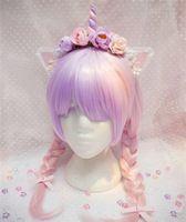 Dulce Lolita harajuku Estilo japonés Rosado Hecho A Mano Flores Unicornio Cosplay Del Partido de la venda Del Aro Del Pelo Accesorio