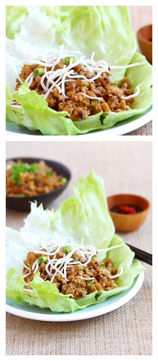Lettuce wraps with chicken and mushroom. Easy lettuce wraps recipe that is better than PF Chang's lettuce wraps and takes 15 minutes. A must try Chinese recipe   http://rasamalaysia.com