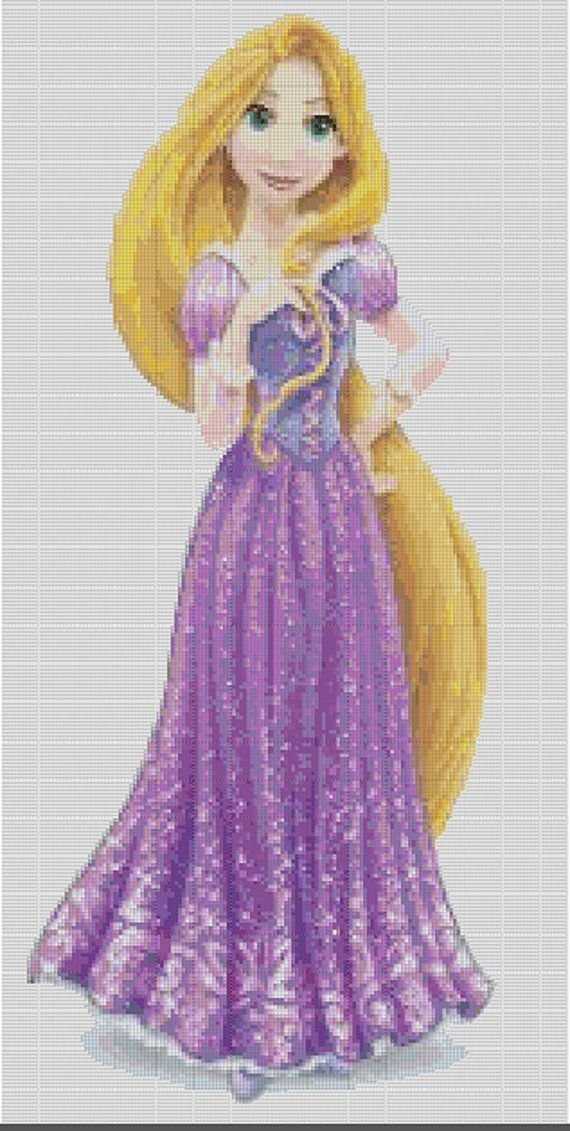 Counted Cross Stitch Pattern, Disney's Rapunzel in glittery gown, Instant Download, PDF Pattern, Hand Designed by Crossfandomxstitch