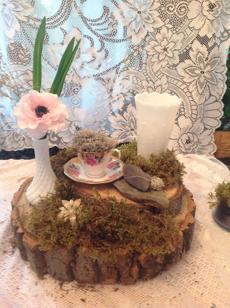 Moss wedding vintage forest shabby chic wood teacup milk glass rocks nature