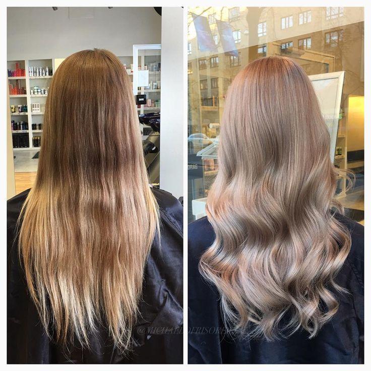 Mjuka kalla slingor istället för en gammal ombre ✨ #highlights #hairgoals #olaplex