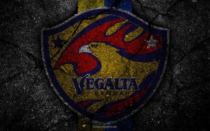 Download imagens Vegalta Sendai, logo, arte, J-League, futebol, clube de futebol, FC-Vegalta Sendai, a textura do asfalto