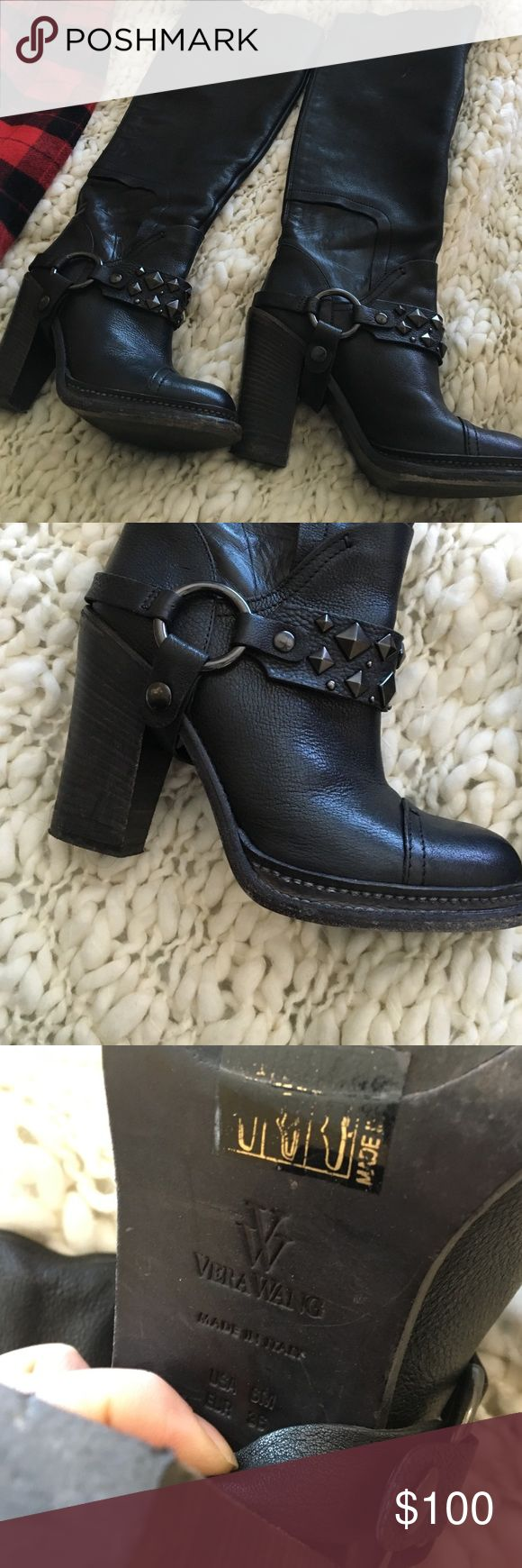 Vera wang black Moto boots Size 6 black heel Vera wang leather black boots. With stud belt around the arch. In good condition. Worn a couple of times., Vera Wang Shoes Combat & Moto Boots