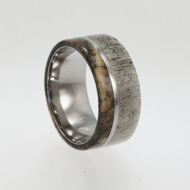 Mens Wedding Band / Titanium ring inlaid with Buckeye Burl Wood and Deer Antler, Ring Armor Included