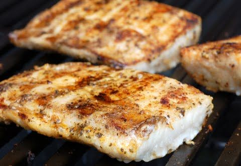 Marinated and Grilled Cobia   3 lbs cobia  1/3 cup olive oil  1/3 cup lemon juice  1½ teaspoons dry mustard  1 clove garlic (minced)  1 teaspoon salt ¼ teaspoon pepper  Cut fillets into serving size pieces, and place in a bowl. Combine olive oil and lemon juice. Add all remaining spices to oil and lemon juice, and mix. Pour mixture over fish steaks. Marinate for 5 minutes Remove from marinade and barbecue for about 8 minutes over coals (Keep checking, do not overcook!) Turn as necessary…