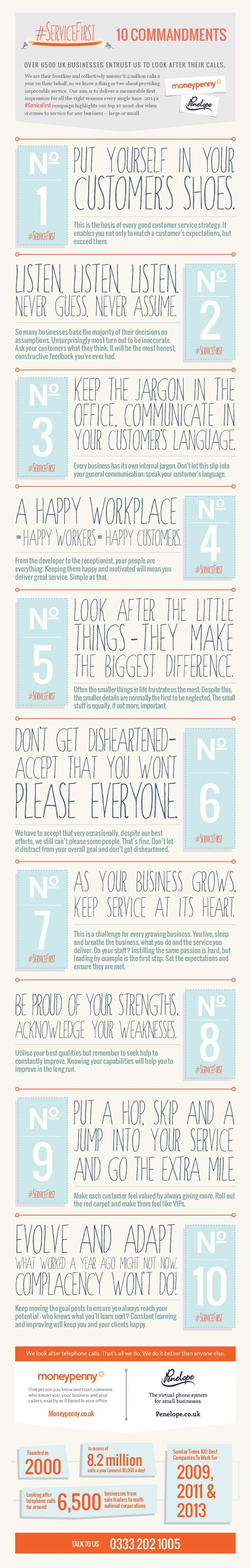 iTips: Service First 10 Commandments: customer service tips (by MoneyPenny.co.uk)