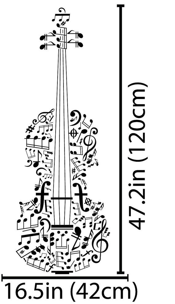 Music Notes Violin Wall Art Decal Decor by VinylWallArtworks