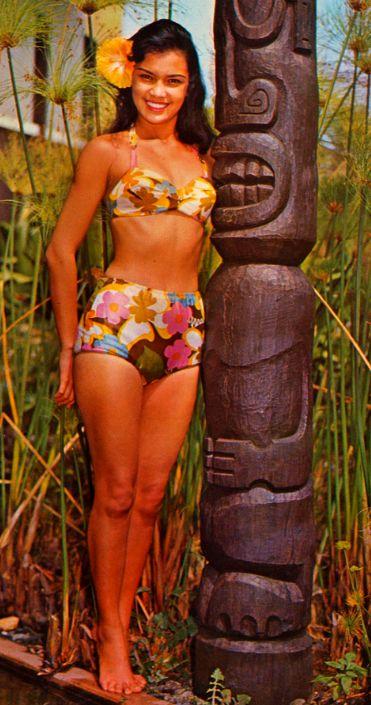 vintage-retro:  Hawaiian Beauty   Om Nom Nom Nom! I mean.. *ahem* Miss Kauai - Tiki Postcard from the 60s
