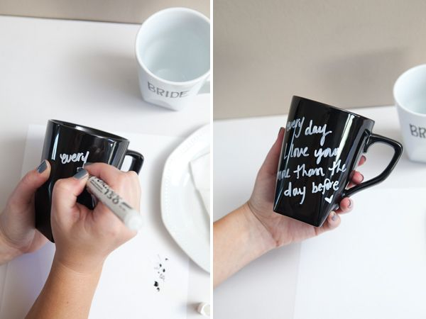 DIY: message coffee mugs: Bride Grooms, Personalized Coff Mugs, Diy Decor Coffee Mugs, Gifts Ideas, Messages Coff, Ideas Divertida, Diy Hands, Crafty Ideas, Diy Messages