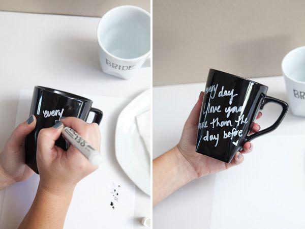DIY: message coffee mugs: Message, Idea, Gift, Coffeelove Crafts, Diy'S, Diy Crafts, Coffee Crafts, Coffee Mugs