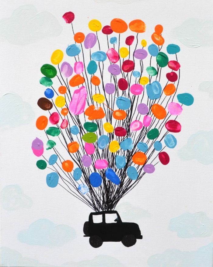 Thumbprint Art - Balloons and a Jeep Great idea for kids at a school to give to the administrator!