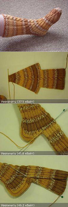 Носки, связанные на двух спицах, без единого шва - Вязание спицами и крючком.