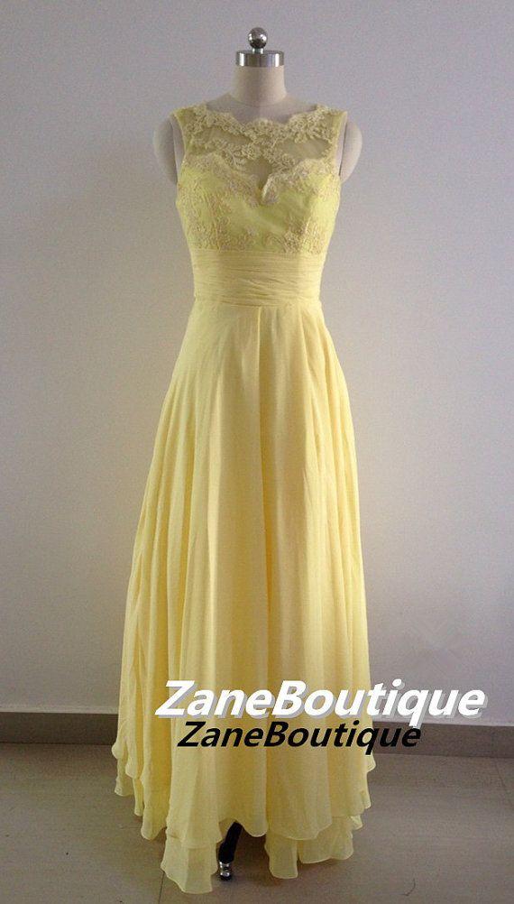 Straps Scoop Neck Long Lace and Chiffon Bridesmaid Dress, Floor Length V Back Bridesmaid Dress, Yellow Daffodil Buttercup Bridesmaid Dress on Etsy, £79.02