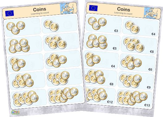 Learn to recognise and count EURO banknotes & coins - counting coins 3