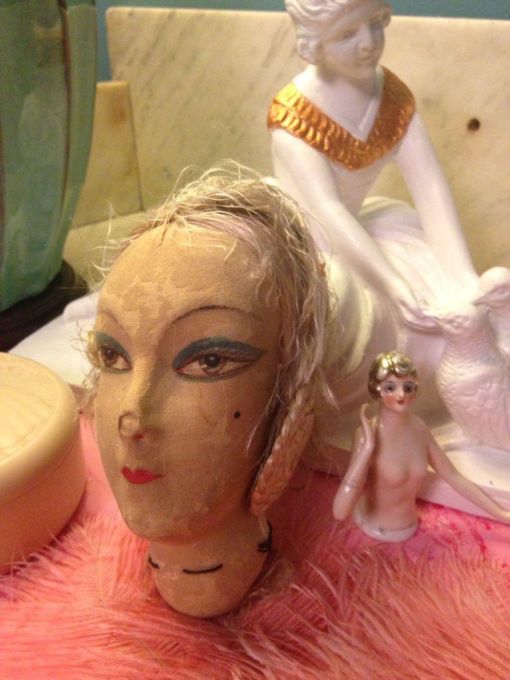 French antique boudoir doll head, tête de poupée de boudoir française en soie à restaurer . de la boutique LesPierreVintage sur Etsy