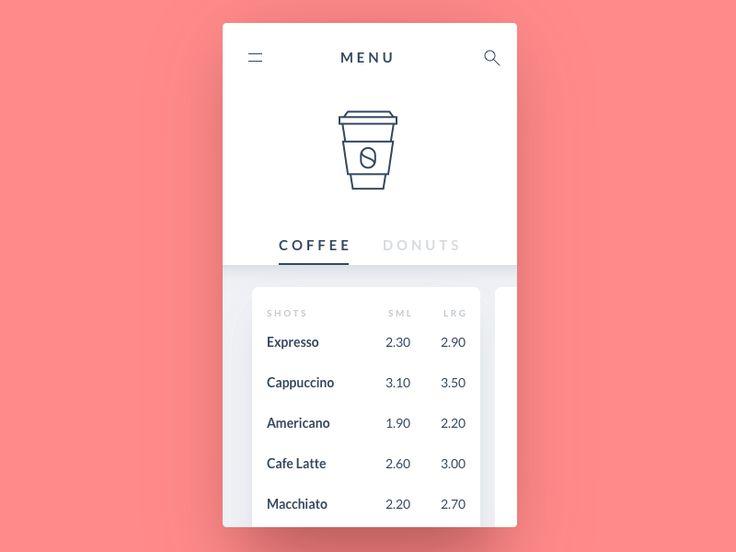 Coffee menu - UI Movement