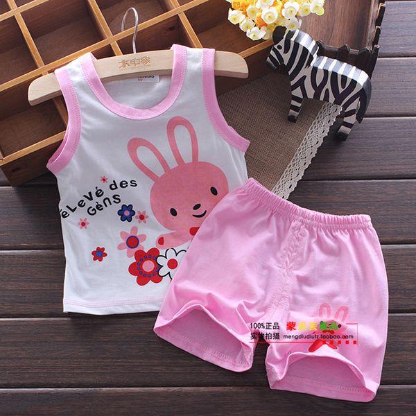 Детские новорожденных девочек и мальчиков летней одежды одежды младенца короткий рукав костюм детей костюм 2015 лета новый