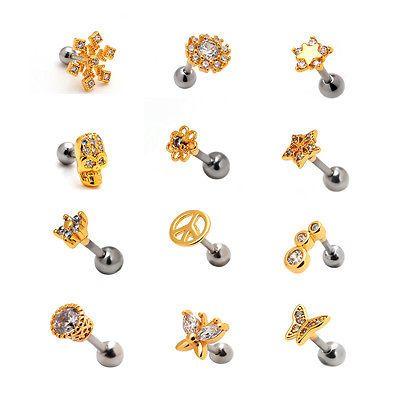 2pcs 16G Gold Helix Auricle Barbell Ear Stud Cartilage Earrings Lobe Piercing
