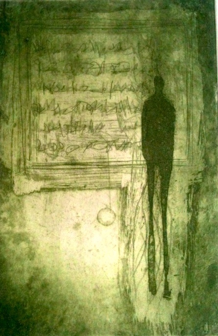 """Mireia Rosich print. """"Shadow""""   Etching and aquatint in olive green, 2013"""
