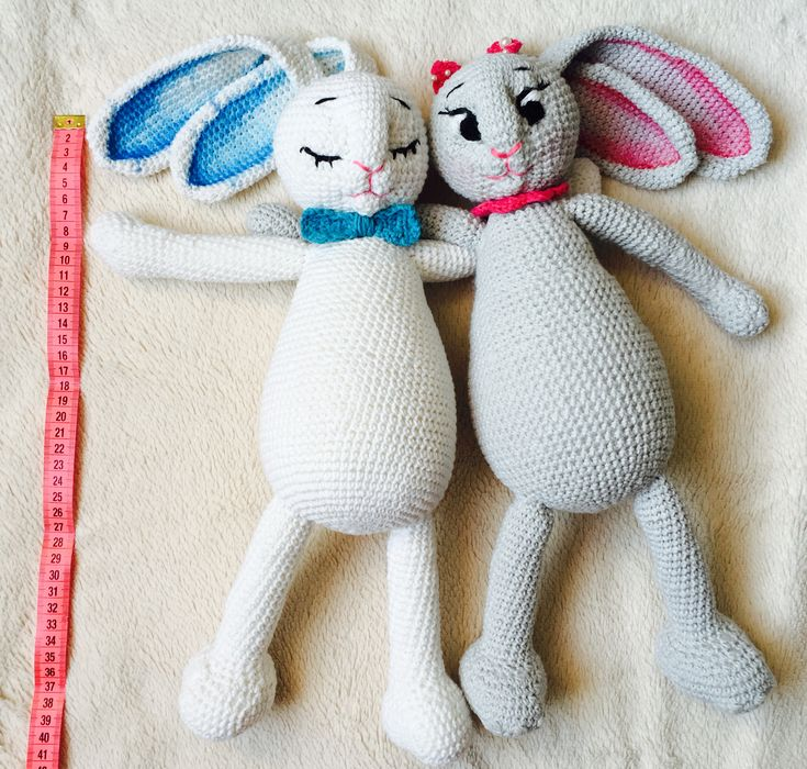 crochet Bunny 40cm, painted, blue and pink, baby toy