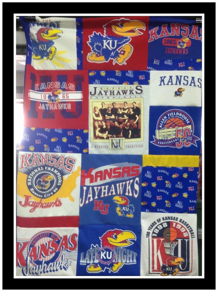 Jayhawks tee shirt quilt rock chalk pinterest quilt for Funny kansas jayhawks t shirts