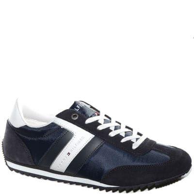#Sneaker allacciata in tessuto e camoscio blu.