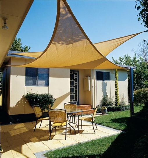 "I have two of these, one 10x10 for the side porch on the East side, and a 15' x 15' for the South deck. They're very durable, stylish and inexpensive, and come in both triangles and squares, both shapes with concave edges, which give them that ""flying jib"" look."