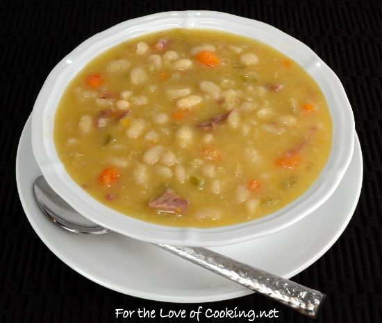 Slow Simmered White Bean and Ham Soup - For the love of cooking