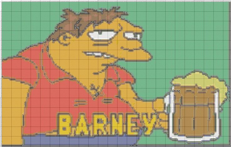 Barney With Beer For Cross Stitch Crafts The Simpsons