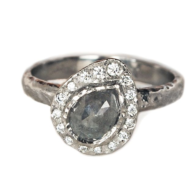 Raw Diamond Engagement Ring     Raw Rose Cut Diamond Halo Engagement Ring in 14K Palladium White Gold with accent diamonds      $3900