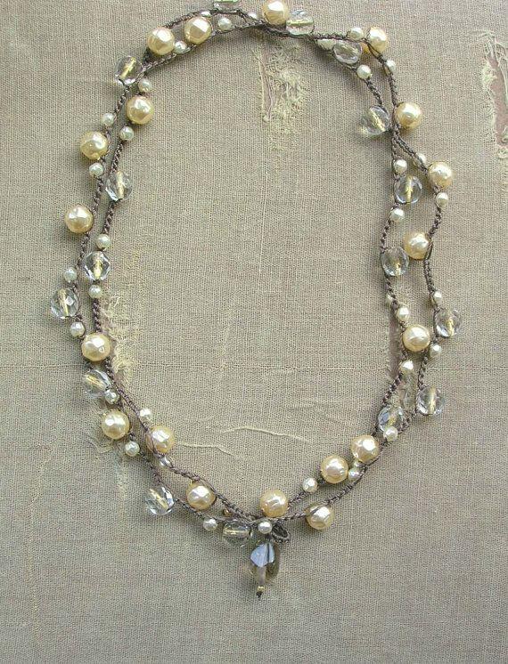 39 inches long Envoltura de perla collar Gigi ganchillo joyería por 3DivasStudio