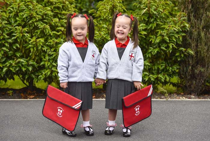 Twins with Down's syndrome Start Main Stream Primary School  Down syndrome, awareness, inclusion, celebrate diversity
