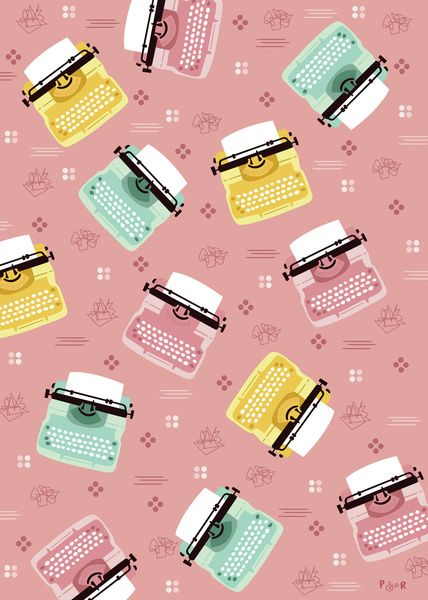 Vintage Typewriters Art Print by Poppy & Red
